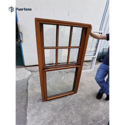 Aluminio estándar estadounidense Levante / Subir / deslizando hacia arriba y abajo de la ventana Ventana vertical con inclinación hacia afuera Abrir ventana deslizante negra