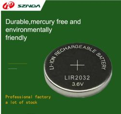 إمداد الطاقة الحرارية مباشرة Lir 2032 بقدرة 3.7 فولت وسعة 40 مللي أمبير/ساعة خلية ليثيوم أيون الليثيوم Lir 2032 بقدرة 3.6 فولت قابلة لإعادة الشحن، بطارية Coin Battery Lir2032 مشتري