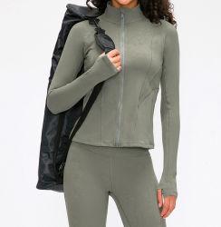 Long-Sleeved Ioga Fêmea jaqueta de stand-up o colar de fecho de correr frontal esportivo FITNESS revestimento exterior com bolsos