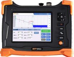 Strumentazione ottica del tester del cavo di Ethernet di Vfl dello schermo di tocco del riflettometro della fibra della palma OTDR 1310/1550nm 26/24dB
