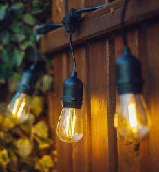 UL /ETL 48FT Feux chaîne Outdoor E26 E27 S14 Edison Ampoule incluse Lumière de Noël connectable imperméable Feux de chaîne LED série