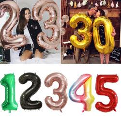 30 40polegadas de lâmina grande balões de aniversário do número de helio balões Feliz Aniversário Condecorações Kids Toy Figuras Ar Casamento Globos