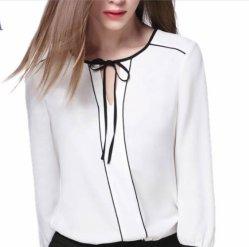 Form V-Stutzen lange Hülsen-Blusen-tragen elegante Büro-Damen Chiffon- weiße Blusen