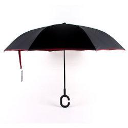De hand-vrije Mannelijke en Vrouwelijke Verticale Zonnige Paraplu van de Paraplu van de Staaf Omgekeerde