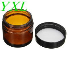 60ml het amberHulpmiddel van de Make-up van de Container van de Fles van de Room van de Zorg van de Huid van de Pot van de Kruik van het Glas Navulbare Kosmetische Verpakkende met Zwart Deksel voor de Verpakking van de Reis