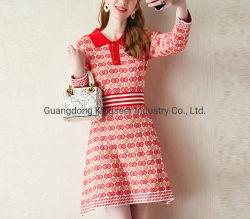 Neues Design Mode Damen Poloshirt Kragen Sportkleidung Stricken Bekleidung Pullover Gestreiftes Kleid