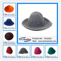 La Chine usine de gros de chapeau de feutre de laine de haute qualité Flare Capeline Hat