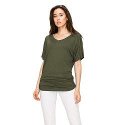 De vrouwen vormen Stevige de v-Hals van de Kleur Sleeveless Comfortabele Blouse