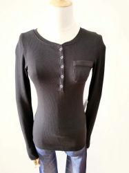 Les femmes Multi-Colors Couture Tshirt Col rond avec poche à manchon long