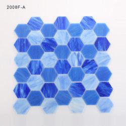 Mosaico mosaico de vidrio de color azul iridiscente forma hexagonal para el baño de ducha