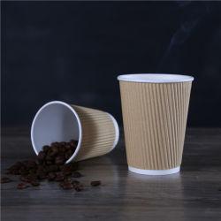 La coutume des gobelets de styromousse mur de l'ondulation de boisson chaude les tasses de café en papier