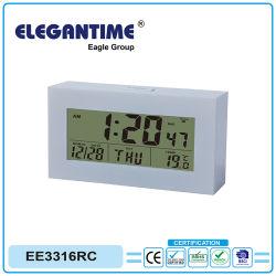 Управляется по радио с будильником с большой цифровой ЖК-дисплей времени, даты, температуры и влажности