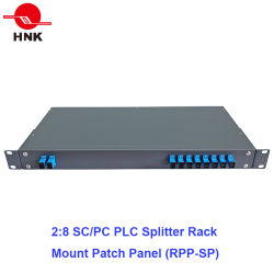 2: 8 PLC Splitter de fibra óptica para montagem em rack Patch Panel