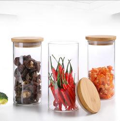 Todos os tamanhos de tampa de bambu garrafa de vidro para armazenamento de alimentos