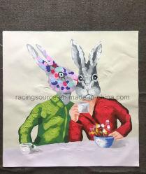 Pintura al óleo casera del animal del conejo de la pintura del arte de la lona del extracto de la decoración