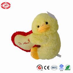Het gele Pluizige Gevulde Zachte Stuk speelgoed van de Pluche van de Valentijnskaarten van het Hart van de Omhelzing van de Eend
