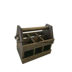 Compartimento de madeira manchado insertos amovível 6 Pack Cerveja para biberões