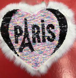 Coração de Paris Design Patch Bordado Couro Apliques Sequin reversível com peles com pêlo