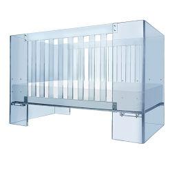 Babybed acrílico Plexiglass Cama Cama Infantil plástico claro Presépio Acrílico Cot em azul
