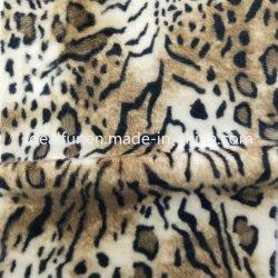 ヒョウのデザインによって編まれるミンクののどの毛皮