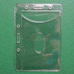二重明確なビニールIDのカードのプラスチック小型のバッジホールダーの袋