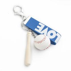 Hölzerner Handwerks-Leerzeichen-hölzerner Baseballschläger-Schlüsselring-Schlüsselkette mit Nylonbrücke