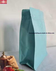 De Zak van de Verpakking van de koffie met het Vlakke Materiaal van de Aluminiumfolie van de Kanten van de Bodem en van de Hoekplaat