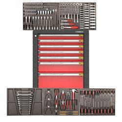 Outil à main Kinbox 232 PCS Case Armoire à outils de la poulie pour la réparation de voiture