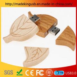 Folha de madeira verde de alta qualidade Maple Leaf Unidade Flash USB/ Folha Madeira proteção ambiental de Baixo Carbono Cartão USB