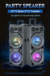 2X10 pulgadas sonido amplificador de audio Bluetooth Carrito Karaoke de LED de iluminación de las Partes en el exterior de la fábrica de Altavoces Altavoces portátiles batería recargable de ODM Sistema estéreo