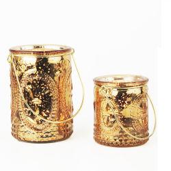 Rose Círio Gold Cup suporte para velas de vidro com pendente de Metal