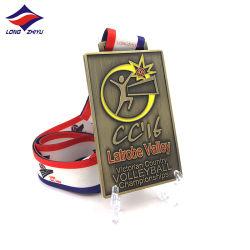 Longzhiyu 13 Jahre Volleyball-Medaillen-Antike-Goldsilber-Kupfer-Sport-Medaillen-mit Farbband