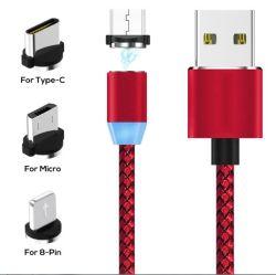 Magnético LED 3 en1 Cable USB utilizado para el tipo de relámpago C Cable micro USB Fecha
