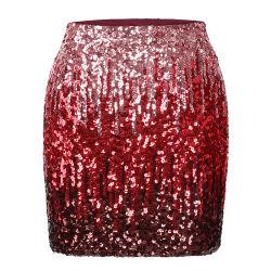 Les femmes Sequin tissu Mesh Fashion Sexy jupes de la rampe de gradient