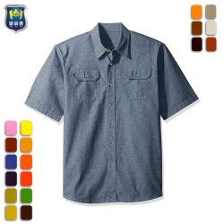 Custom à manches courtes hommes travail sergé de coton brut Shirt