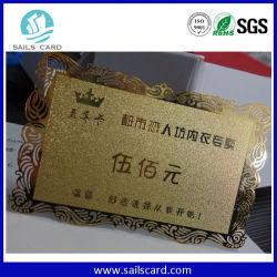 Dernière conception personnalisée bord de la dentelle en acier inoxydable métal or Business Card