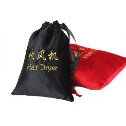 Luxury Design Preto e Vermelho Bordado Personalizado Secador de cabelos Cordão de Embalagem Bolsa de veludo