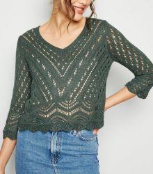Женщин трикотажные круглой горловины 3/4 втулку моды спицы свитер