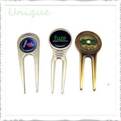 Alliage de zinc métal personnalisée de l'émail Marqueur de Balle de Golf d'aluminium + outil Divol pour cadeau de promotion de Golf