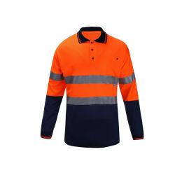 Slijtage van het Werk van het Zicht van de Koker van de T-shirt van de veiligheid de Lange Hoge Weerspiegelende