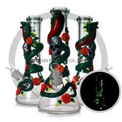 Mano luminosa 3D di notte del cranio del serpente che vernicia i tubi di fumo del narghilé dell'acqua della coppa di vetro spessa di 7mm