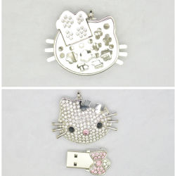 Kristall-hallo Miezekatze USB-grelle Platte-Feder-Laufwerk