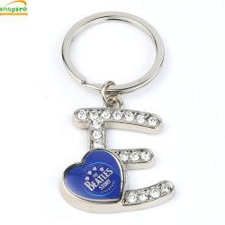 Lettre de la forme de chaîne de clé en métal avec Diamond des pierres pour cadeau de promotion &Souvenir