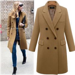 La moda de invierno lana Poliéster tamaño a lo largo abrigo Chaqueta para mujer