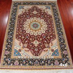 4ft X 6ft. Red Handshade Oriental 페르시아산 실크 러그 카펫