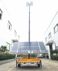 望遠鏡のマスト電池式の携帯用緊急の電気移動式太陽LEDの軽いタワー