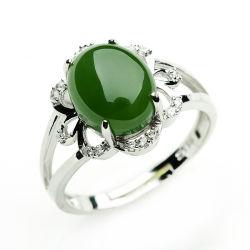 Tamanho grande de jóias Gemstone Natural 925 Prata Anel de Jade
