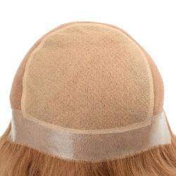 Custom дамы полностью винты с головкой под Wig PU и кружевной базы реального человеческого волоса, замена