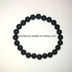 De natuurlijke Zwarte Tourmaline Geparelde Armband van het Kristal