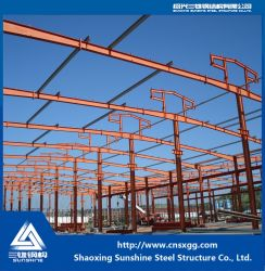 Historia de una sola estructura de acero de almacén con materiales de construcción para almacén